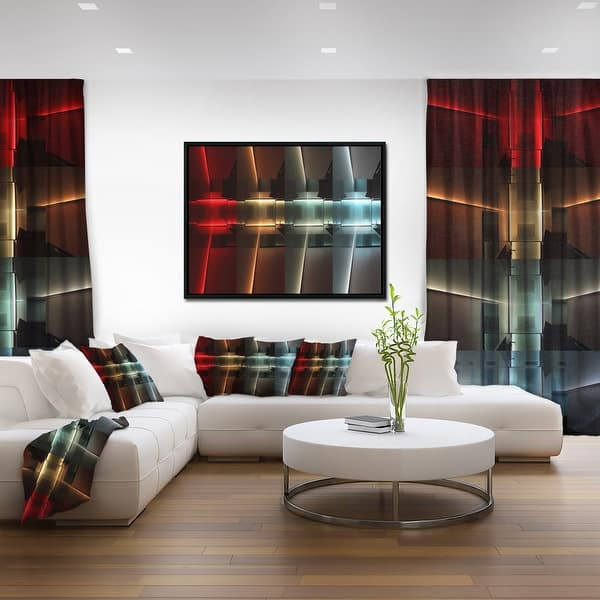 Shop Designart Kitchen With Led Lighting Abstract Framed Canvas Art Print Overstock 18953255