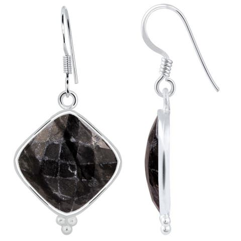 Picasso Jasper Sterling Silver Cushion Dangle Earrings by Orchid Jewelry