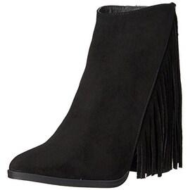 Madden Girl Womens Shaare Fringe Block Heels Cowboy, Western Boots - 6.5 medium (b,m)