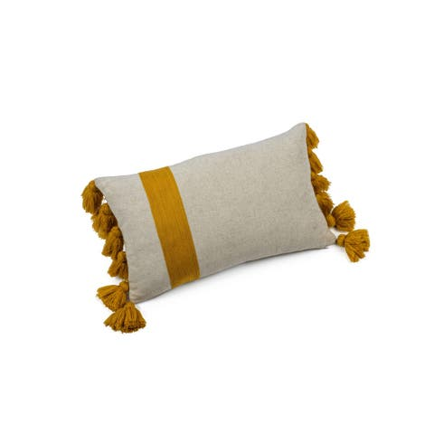 """Positano Embroidered Throw Pillow with Tassels, 12"""" x 20"""""""