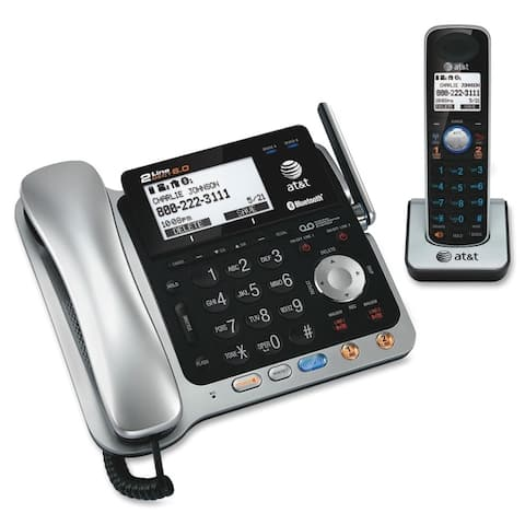 At&t(r) at&t tl86109 dect 6.0 2-line connect to cell corded/cordless bluetooth phone system with digital answering sys - Black