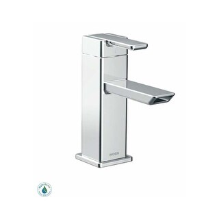 Moen S6700HC Single Hole Bathroom Faucet - Includes Matching Pop-Up Drain Assembly from the 90 Degree Collection - Chrome - n/a