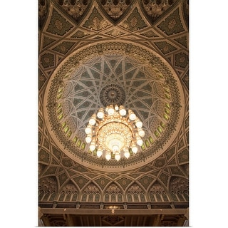 """""""Chandelier and dome of the musalla of Sultan Qaboos Grand Mosque"""" Poster Print"""