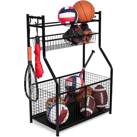 BIRDROCK HOME Sports Equipment Storage Rack - Steel Ball Storage Rack