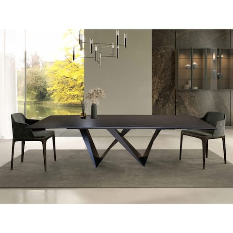 DAVEE Extendable Dining Table with Slate blue Table Top - 106.30*35.43*29.53 inches