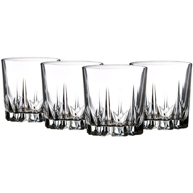 Palais Glassware 'Diamant' Collection; High Quality Diamond Cut Glass Set (Set of 4 - 13 oz. DOF) - Thumbnail 0