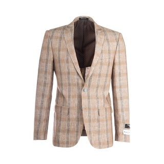 Sienna Tan with Gray and Brown Lines, Windowpane Slim Fit, Linen Jacket by Tiglio Luxe RS5628/B
