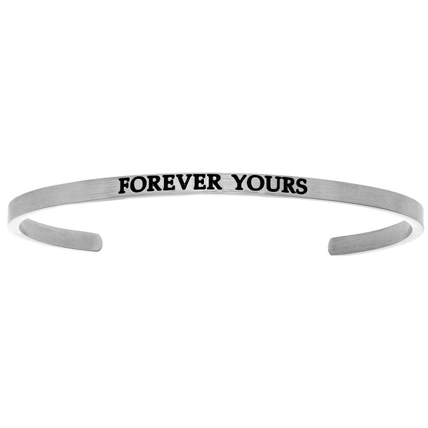 "Intuitions ""Forever Yours"" Stainless Steel Cuff Bangle Bracelet"