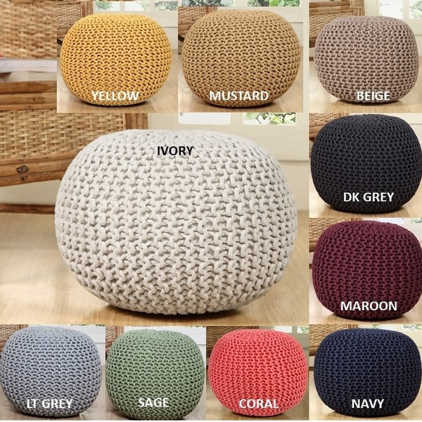 AANNY Designs Lychee Knitted Cotton Round Pouf Ottoman. Opens flyout.