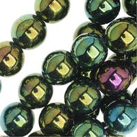 Czech Glass Druk Round Beads 8mm Green Iris (25)