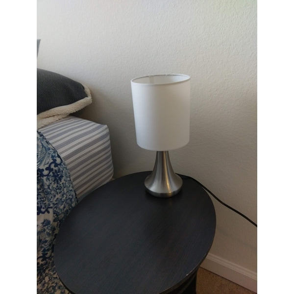 Light Accents Touch Table Lamp 13 Tall With 3 Stage Dimmer And White Fabric Drum Shade 2 Pack Free Shipping On Orders Over 45