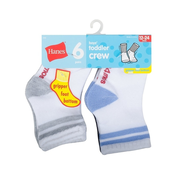 Hanes Infant Boys Crew socks P6 - Size - 4/5T - Color - Assorted