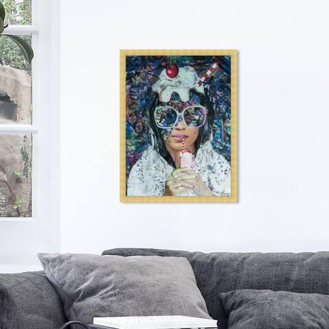Oliver Gal 'Milkshake by Katy Hirschfeld' Fashion and Glam Wall Art Framed Print Portraits - White, Pink