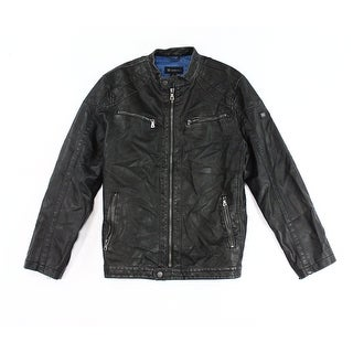 INC NEW Black Mens Size 2XL Mock Neck Faux Leather Motorcycle Jacket