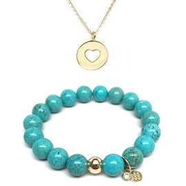 Turquoise Magnesite Bracelet & Heart Disc Gold Charm Necklace Set