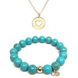 Turquoise Magnesite Bracelet & Heart Disc Gold Charm Necklace Set