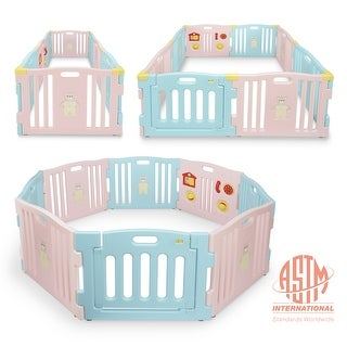 Kidzone Playpen 8 Panel Safety Gate Kids  ASTM Certified Light Pink - standard