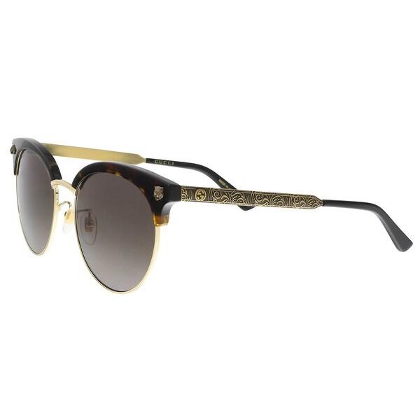 f6cf5a2860c1 Shop GUCCI GG0222SK 002 Havana/Gold Cateye Sunglasses - Ships To ...