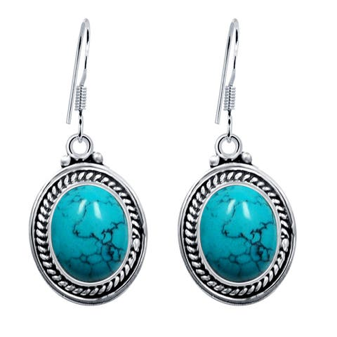 Amethyst, Turquoise Sterling Silver Oval Dangle Earrings by Orchid Jewelry