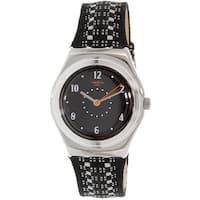 Swatch Women's Irony  Black Leather Quartz Fashion Watch