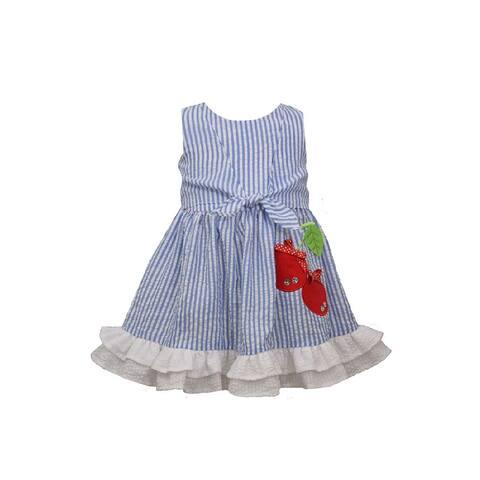 Bonnie Jean Blue Tie Front Cherry Panty Sundress Baby Girls