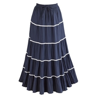 Women's Broom Skirt - Out Of The Blue Long Crinkle Peasant Skirt