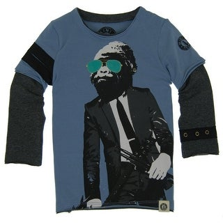 Mini Shatsu Little Boys Blue Rockin Gorilla Screen Print Twofer Shirt 2T
