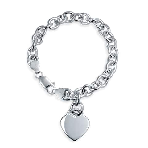 Solid Heart Shape Charm Tag Chain Bracelet For Women For Teens Engravable 925 Sterling Silver Heavy Rolo Chain