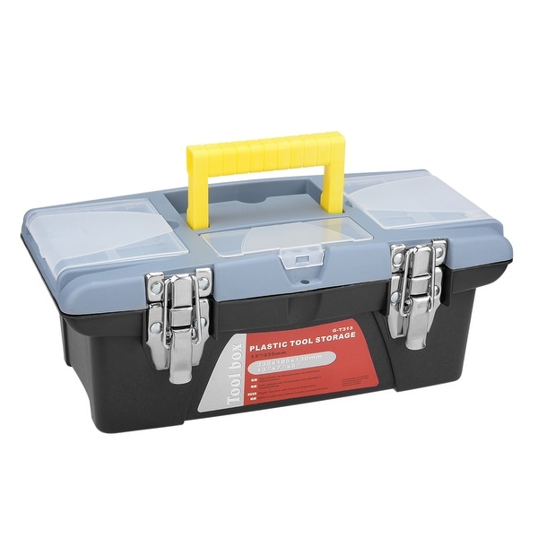 13-inch Tool Box with Tray and Organizers Includes 3 Small Parts Boxes