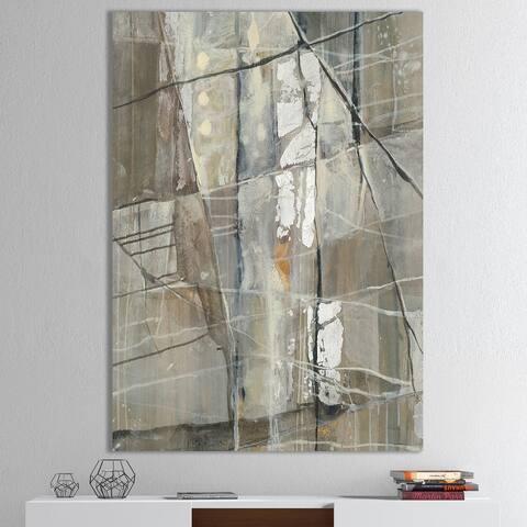 Porch & Den 'Grey Silver Geometric Composition' Modern Canvas Art - Grey