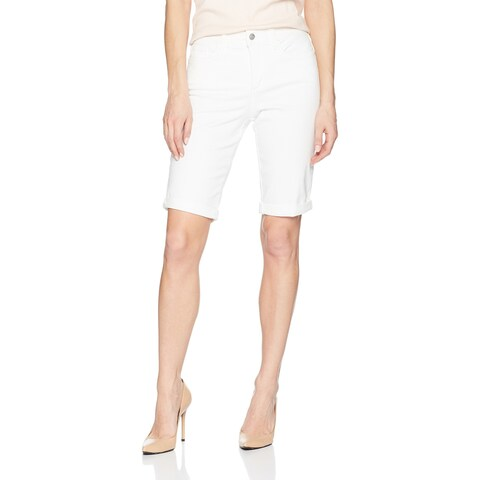 NYDJ White Women's Size 14 Denim Zip-Fly Briella Bermuda Shorts