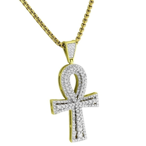 "14k Gold Tone Ankh Cross Pendant Solitaire CZ Sterling Silver 24"" Necklace"