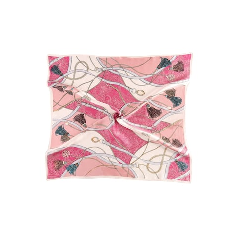 Women Fashionable Print 100% Silk Square Scarf - Pink Fringe