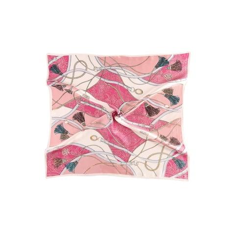 Women Fashionable Print Silk Square Scarf - Pink Fringe