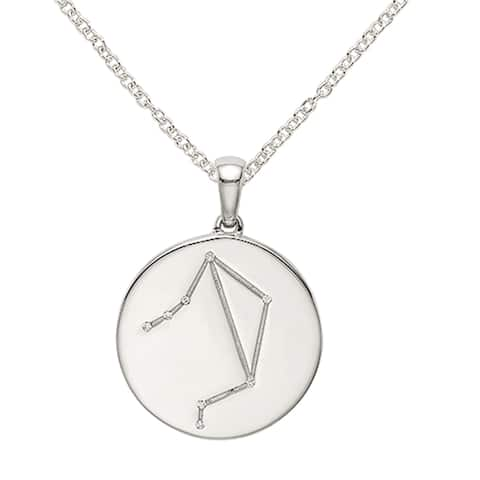 Sterling Silver and Cubic Zirconia Libra Zodiac Pendant with 18-inch Cable Chain by Versil