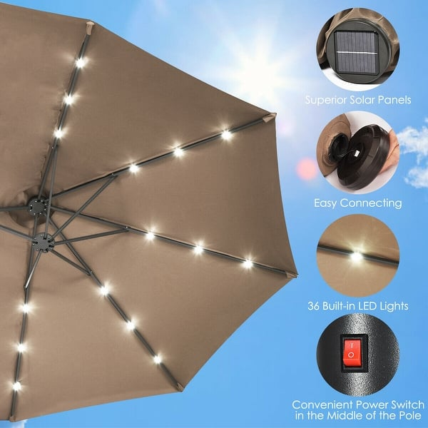Outdoor Market Umbrella 15FT Patio Double-Sided Umbrella with Solar LED Lights
