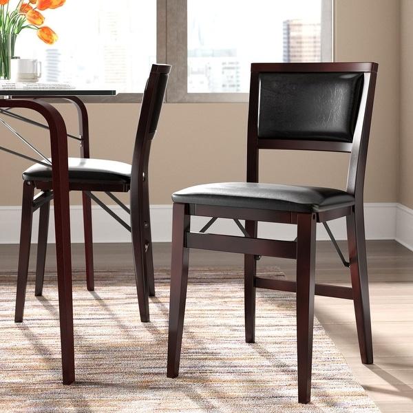 Porch & Den Aldersey Espresso Folding Chair with Dark Brown Seat (Set of 2). Opens flyout.