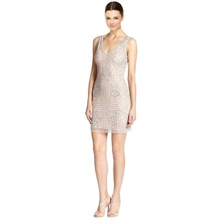 Aidan Mattox Beaded Mesh Cocktail Dress - 0
