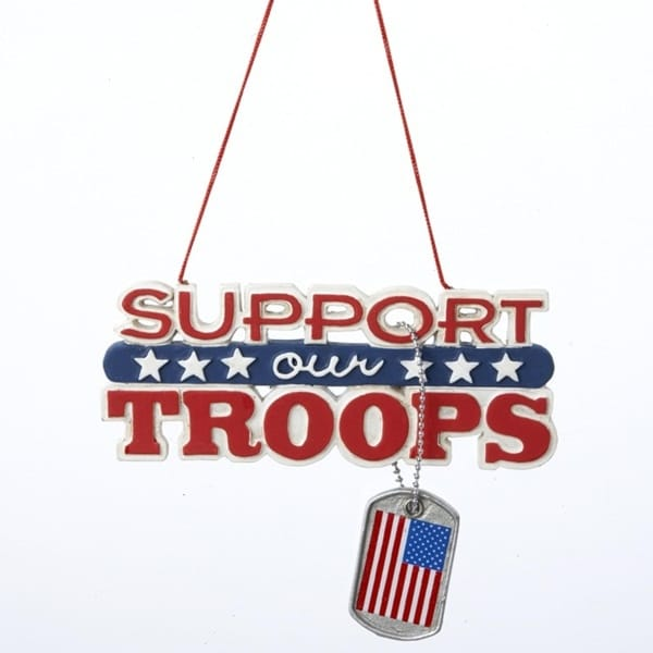 Support Our Troops Plaque with Dog Tag Dangle Christmas Ornament - multi