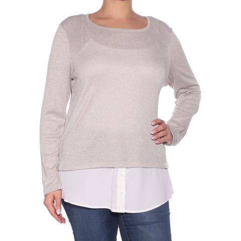 CALVIN KLEIN Womens Gold Buttoned Long Sleeve Jewel Neck Top Size: L