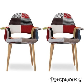 2xhome - Set of Two (2) - Multi-color - Upholstered Organic Arm Chair Armchair Fabric Chair Patchwork Multi-pattern Wood legs