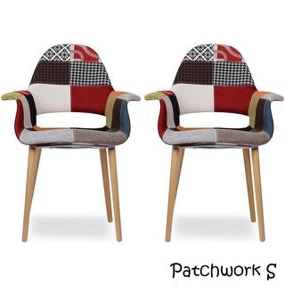 2xhome Set of 2 Fabric Patchwork Patterned High Back With Arms Accent Chairs Natural Leg Wood Dining Living Desk Designer Task
