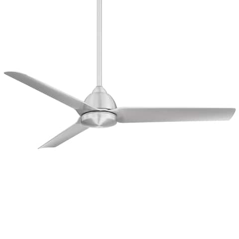 Mocha Indoor/Outdoor 3-Blade Smart Ceiling Fan 54in Brushed Aluminum with Remote Control and Wall Cradle