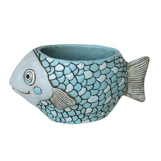 Allen Designs Blue Fish Indoor/Outdoor Planter - 5 X 4.25 X 9.5 inches
