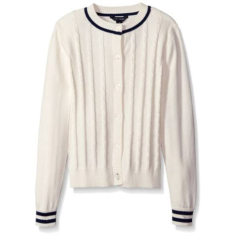 Tommy Hilfiger Girls Sweater White Ivory Size Medium M Cardigan Cotton