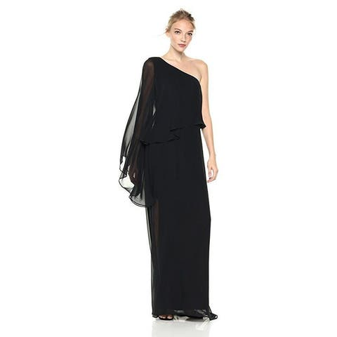 laundry BY SHELLI SEGAL Women's One Shoulder Popover Gown, Black, 8