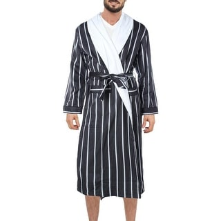 Majestic Mens Fleece Striped Long Robe - S/M