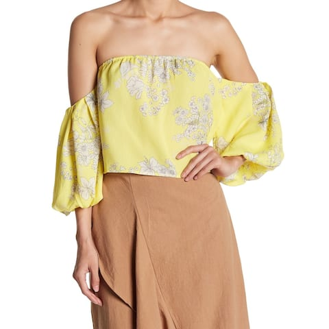 Lush Women's Blouse Yellow Size Large L Floral Print Off-Shoulder