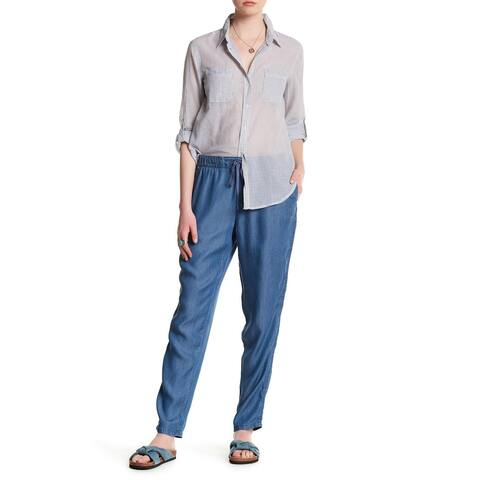 Joe Fresh Blue Womens Size Small S Drawstring Chambray Pants