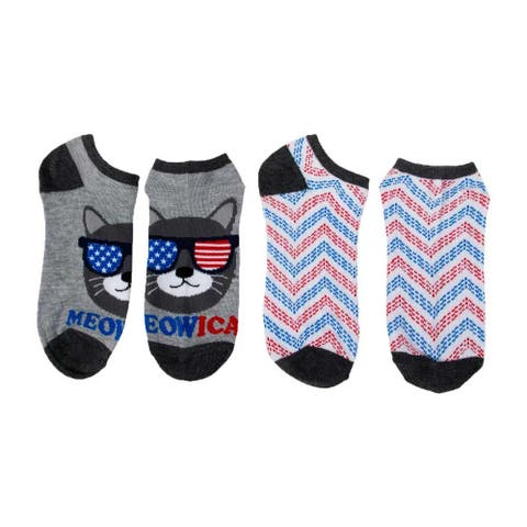 High Point Design USA 4th of July 2-Pack Low Cut Socks Size 4-10